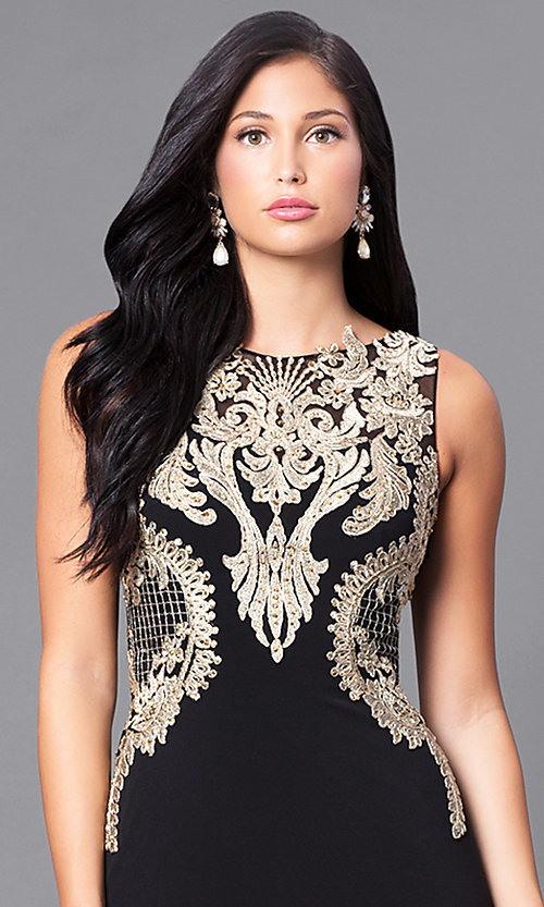 Image of long black illusion prom dress with gold lace applique.  Style: DJ-2687 Detail Image 1