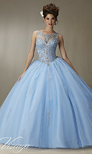 Long Bateau Neck Quinceanera Dress by Mori Lee