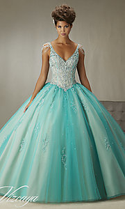 V-Neck Open Back Quinceanera Dress by Mori Lee