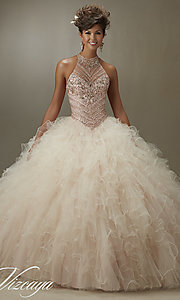 High Neck Long Mori Lee Quinceanera Dress