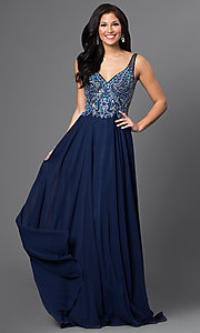 Jewel Embellished V-Neck Open Back Prom Dress