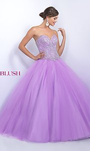 Long Strapless Blush Quinceanera Dress