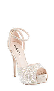 Nude Peep Toe High Heel Shoe