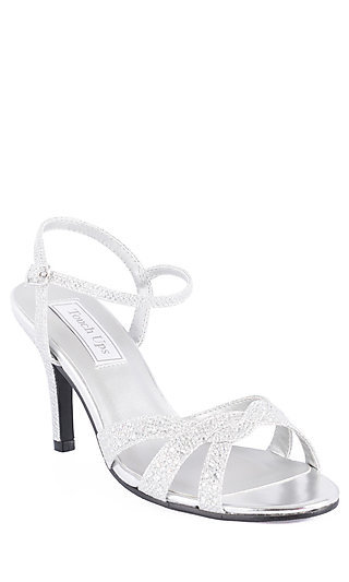 Silver Low Open Toe Heel