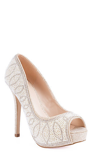Farah Peep Toe Pump in Nude by Sweeties