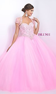 Long Strapless Blush Quinceanera Dress with Bolero