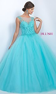 Illusion Sweetheart Long Blush Quinceanera Dress