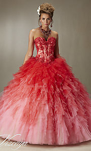 Long Strapless Ombre Quinceanera Dress by Mori Lee