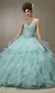 Long Mori Lee Strapless Quinceanera Dress
