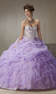 Long Ruffled Organza Quinceanera Dress by Mori Lee