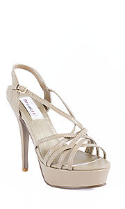Taupe Open Toe Strappy Heel