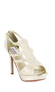 Open Toe Beaded Gold Heel