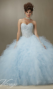Long Ruffled Tulle Quinceanera Dress by Mori Lee
