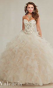 Ruffled Organza Long Mori Lee Quinceanera Dress