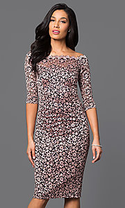 Bateau Neck 3/4 Sleeve Lace Midi Dress