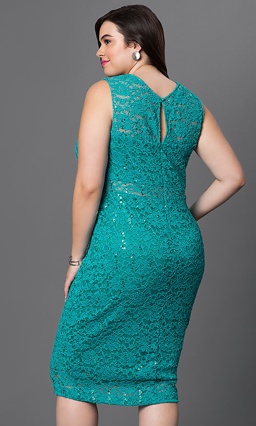 Image of sleeveless lace knee-length plus-size party dress. Style: MB-MX1306 Back Image