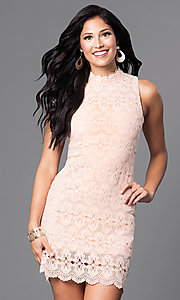 Image of sleeveless peach pink short lace party dress. Style: JTM-JMD6376 Front Image