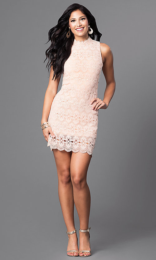 Image of sleeveless peach pink short lace party dress. Style: JTM-JMD6376 Detail Image 1