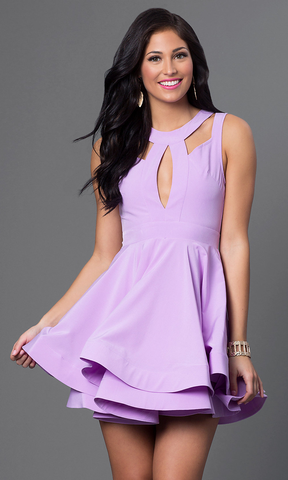 Sleeveless Fit-and-Flare Open-Back Dress -PromGirl