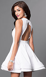 Image of short sleeveless open-back dress with cutouts Style: LUX-LD2120 Back Image