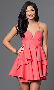 Image of short sweetheart dress with spaghetti straps. Style: LUX-LD2145 Detail Image 2