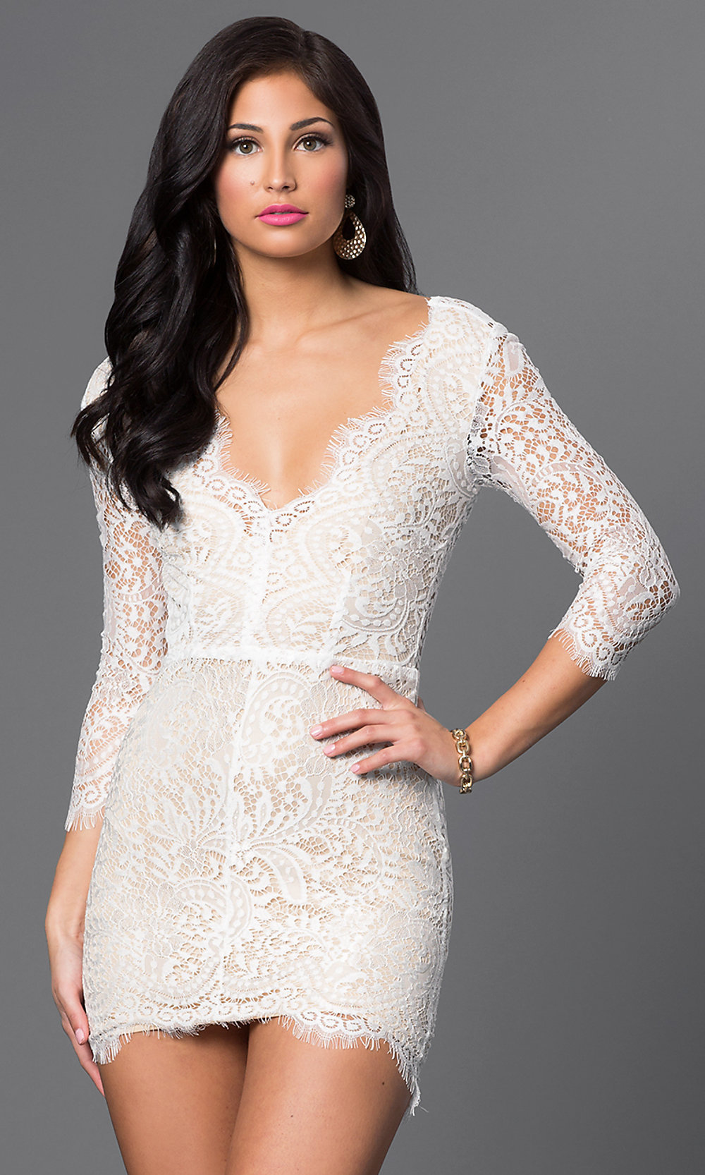 Open back v neck lace dress with sleeves promgirl hover to zoom ombrellifo Image collections