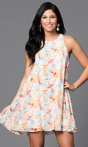 Image of short chiffon print sleeveless shift dress. Style: AC-DX21278R Front Image