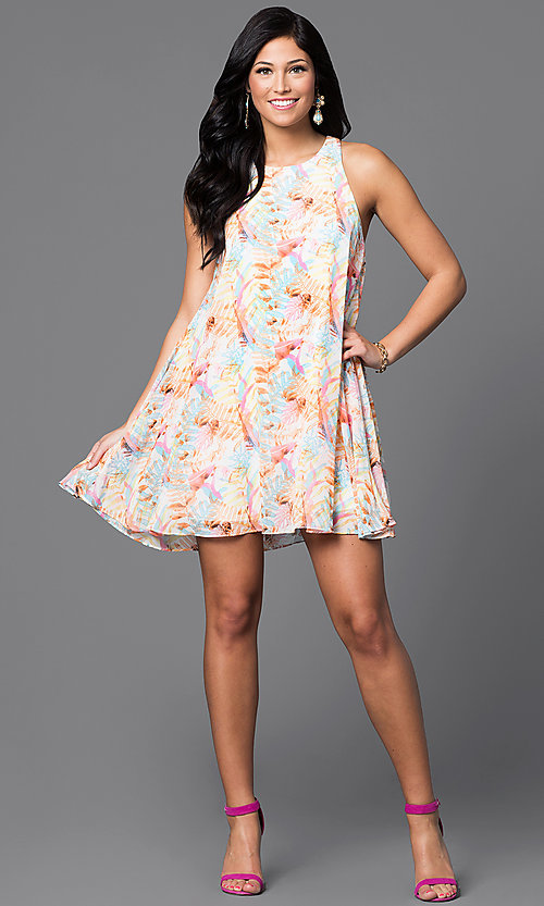 Image of short chiffon print sleeveless shift dress. Style: AC-DX21278R Detail Image 1
