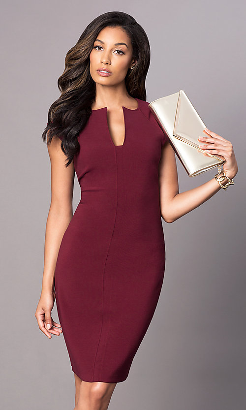 Image of knee-length day-to-night dress with cap sleeves. Style: AC-DX21397G Front Image