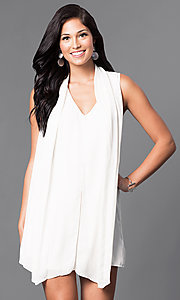 Short Sleeveless White V-Neck Shift Dress
