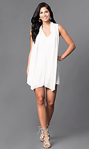 Image of short sleeveless white v-neck shift dress.  Style: AC-DS20415B Detail Image 1