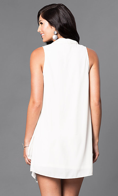 Image of short sleeveless white v-neck shift dress.  Style: AC-DS20415B Back Image