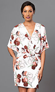 V-Neck Print Short Sleeve Dress