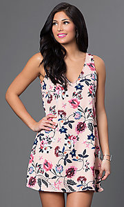 Floral Print V-Neck Short Shift Dress