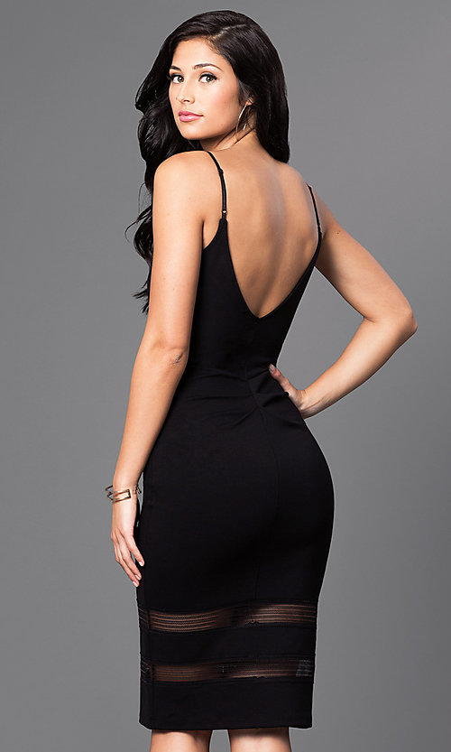 Image of knee-length spaghetti-strap v-neck dress Style: MD-D14442ADK Back Image
