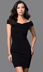 Image asymmetrical v-neck cap-sleeve short dress. Style: MD-D14467ADK Front Image