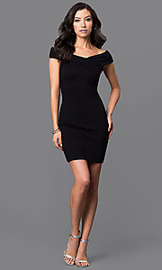 Image asymmetrical v-neck cap-sleeve short dress. Style: MD-D14467ADK Detail Image 1