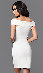 Image asymmetrical v-neck cap-sleeve short dress. Style: MD-D14467ADK Back Image