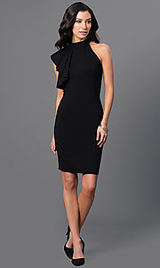 Image of open-shoulder high-neck flutter-sleeve short dress. Style: MD-D14504ADK Detail Image 1
