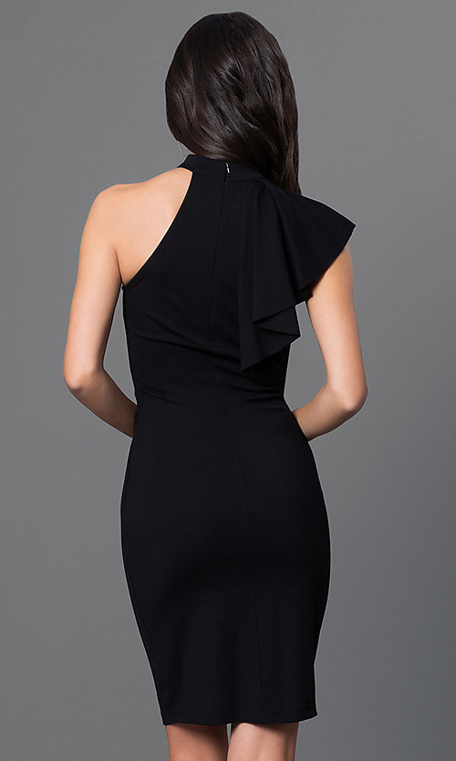 Image of open-shoulder high-neck flutter-sleeve short dress. Style: MD-D14504ADK Back Image