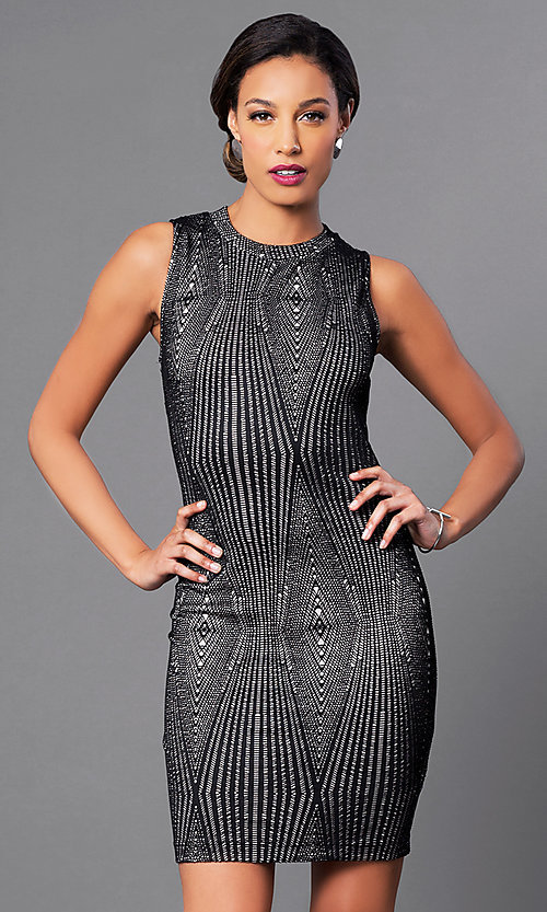 Image of sleeveless short lace cutout-back party dress. Style: MD-D14306BET Front Image