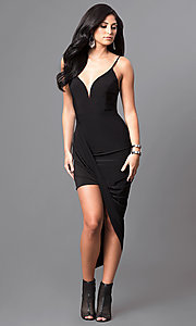 Image of deep v-neck high-low homecoming party dress. Style: MD-D13594AB Front Image
