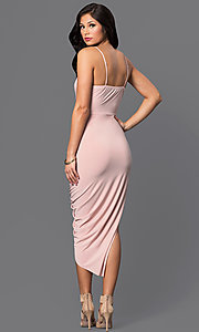 Image of deep v-neck high-low homecoming party dress. Style: MD-D13594AB Detail Image 2