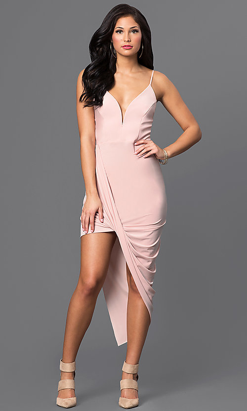 Image of deep v-neck high-low homecoming party dress. Style: MD-D13594AB Detail Image 1