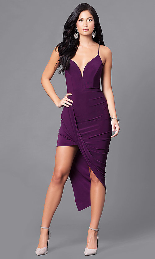 Image of deep v-neck high-low homecoming party dress. Style: MD-D13594AB Detail Image 3