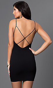 Image of short open-back dress with low neckline Style: SY-ID3380VP Back Image