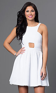 White Fit and Flare Graduation Dress