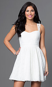 Image of short sleeveless lace-embellished white dress. Style: MT-7202 Front Image