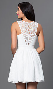 Image of short sleeveless lace-embellished white dress. Style: MT-7202 Back Image