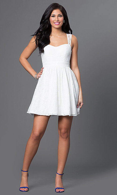 Image of short sleeveless lace-embellished white dress. Style: MT-7202 Detail Image 1